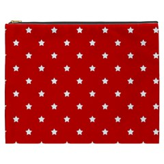 White Stars On Red Cosmetic Bag (XXXL)