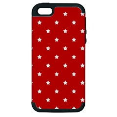 White Stars On Red Apple iPhone 5 Hardshell Case (PC+Silicone)