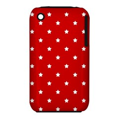 White Stars On Red Apple Iphone 3g/3gs Hardshell Case (pc+silicone)