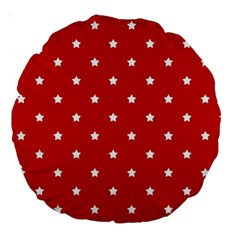 White Stars On Red 18  Premium Round Cushion