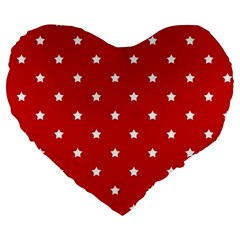 White Stars On Red 19  Premium Heart Shape Cushion