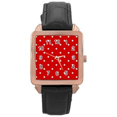 White Stars On Red Rose Gold Leather Watch