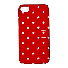White Stars On Red Apple iPhone 4/4S Hardshell Case with Stand