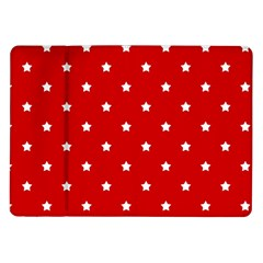 White Stars On Red Samsung Galaxy Tab 10.1  P7500 Flip Case