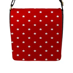 White Stars On Red Flap Closure Messenger Bag (large)