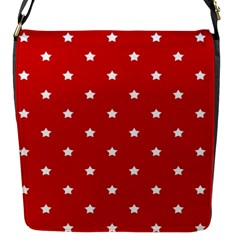 White Stars On Red Flap Closure Messenger Bag (Small)