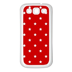 White Stars On Red Samsung Galaxy S3 Back Case (White)