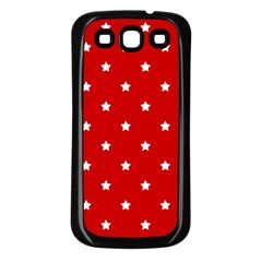 White Stars On Red Samsung Galaxy S3 Back Case (black)