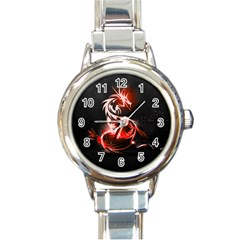 Abstract Red Dragon  Round Italian Charm Watch