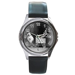 Victorian Easter Round Leather Watch (Silver Rim)