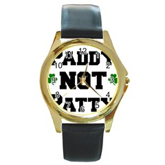 Paddynotpatty Round Leather Watch (Gold Rim)