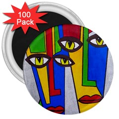 Face 3  Button Magnet (100 pack)