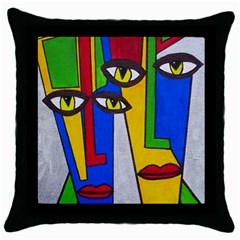 Face Black Throw Pillow Case