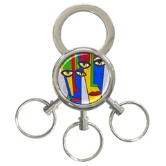 Face 3-Ring Key Chain