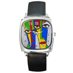 Face Square Leather Watch