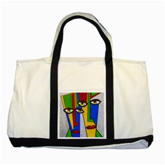 Face Two Toned Tote Bag