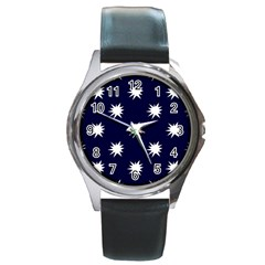 Bursting in Air Round Leather Watch (Silver Rim)
