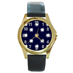 Bursting In Air Round Leather Watch (gold Rim)