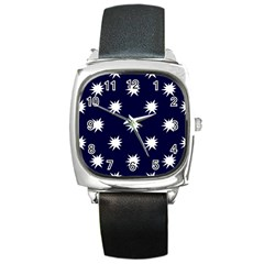 Bursting in Air Square Leather Watch