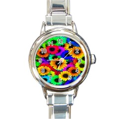 Colorful Sunflowers Round Italian Charm Watch