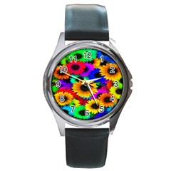 Colorful Sunflowers Round Leather Watch (silver Rim)