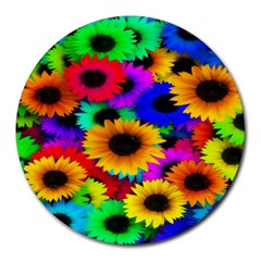 Colorful Sunflowers 8  Mouse Pad (round)