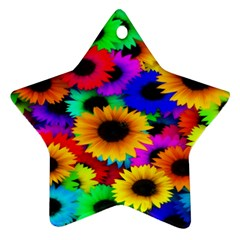 Colorful Sunflowers Star Ornament