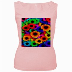 Colorful Sunflowers Women s Tank Top (Pink)