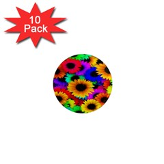 Colorful Sunflowers 1  Mini Button Magnet (10 pack)