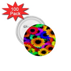 Colorful Sunflowers 1.75  Button (100 pack)