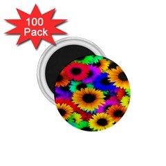 Colorful Sunflowers 1.75  Button Magnet (100 pack)