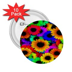 Colorful Sunflowers 2.25  Button (10 pack)