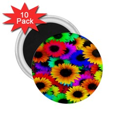 Colorful Sunflowers 2 25  Button Magnet (10 Pack)