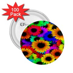 Colorful Sunflowers 2.25  Button (100 pack)