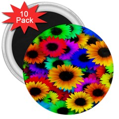 Colorful Sunflowers 3  Button Magnet (10 Pack)