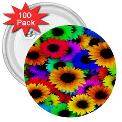 Colorful Sunflowers 3  Button (100 Pack)