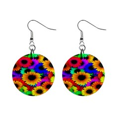 Colorful Sunflowers Mini Button Earrings