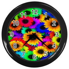 Colorful Sunflowers Wall Clock (Black)