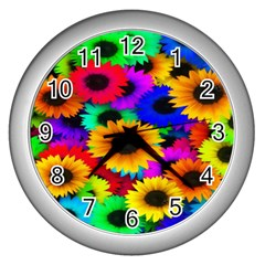 Colorful Sunflowers Wall Clock (Silver)