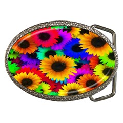 Colorful Sunflowers Belt Buckle (Oval)