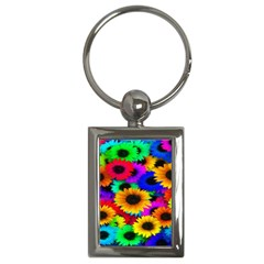 Colorful Sunflowers Key Chain (Rectangle)