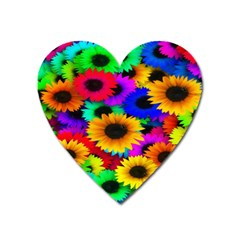 Colorful Sunflowers Magnet (Heart)