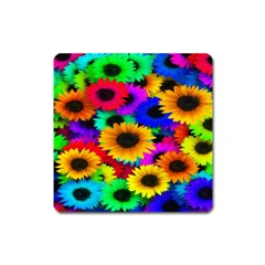 Colorful Sunflowers Magnet (Square)