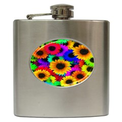 Colorful Sunflowers Hip Flask