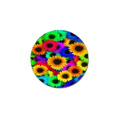 Colorful Sunflowers Golf Ball Marker