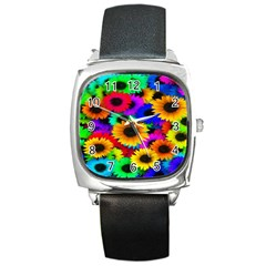Colorful Sunflowers Square Leather Watch