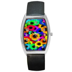 Colorful Sunflowers Tonneau Leather Watch