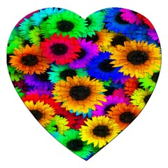 Colorful Sunflowers Jigsaw Puzzle (Heart)