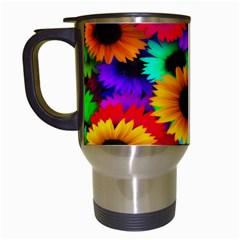 Colorful Sunflowers Travel Mug (White)