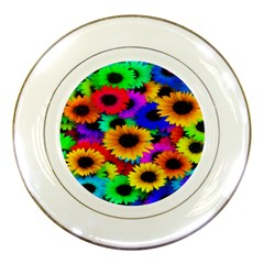 Colorful Sunflowers Porcelain Display Plate
